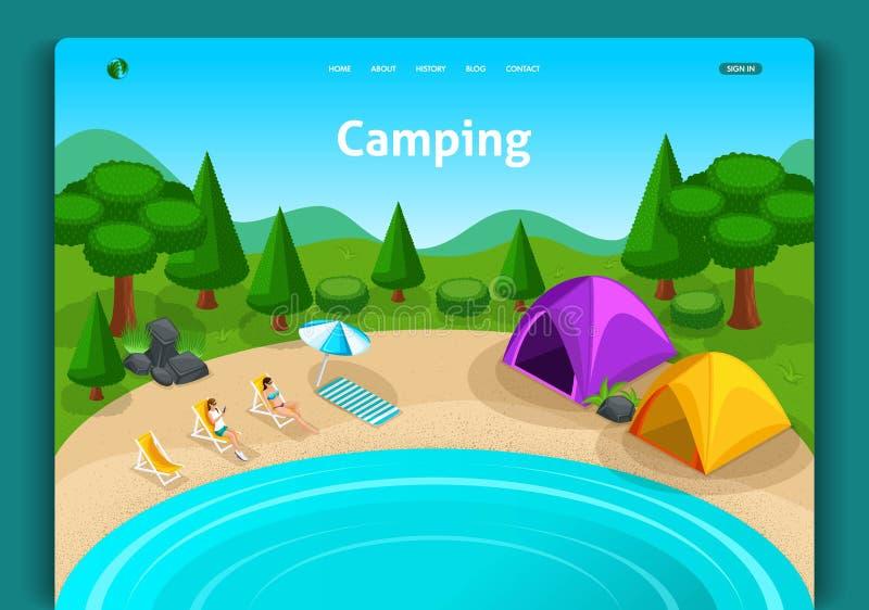 Disegno del modello di Web site Avventure di concetto, viaggio e concetto isometrici di turismo di eco Tenda turistica del campo illustrazione vettoriale