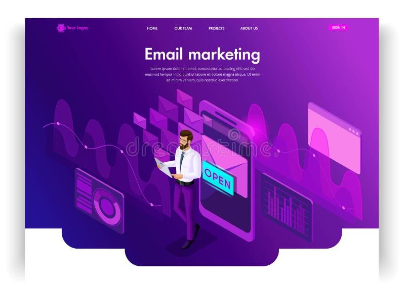 Disegno del modello di Web site Comunicazione elettronica isometrica di posta in arrivo del email di concetto Vendita del email,  illustrazione di stock