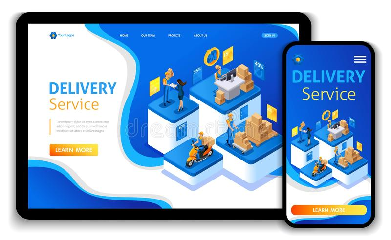 Disegno del modello di Web site Servire isometrici di consegna di concetto Consegna precisa, ordine online, call center illustrazione vettoriale