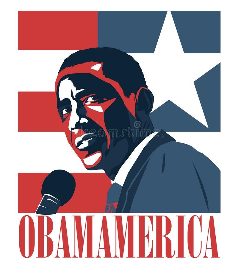 Disegno del Presidente Obama America illustrazione di stock