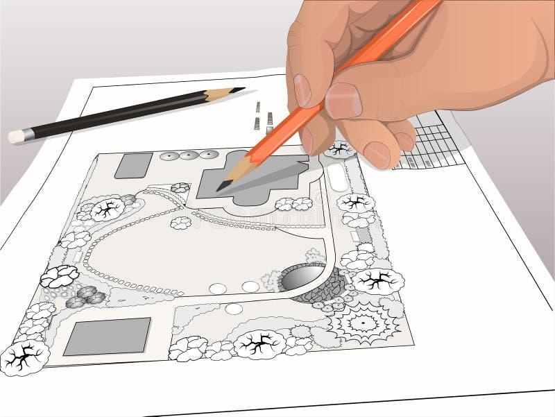 Disegno del progettista del paesaggio della mano fotografie stock libere da diritti