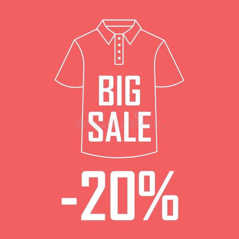 Disegno del quadro televisivo di una maglietta rossa su un fondo rosso con uno sconto di 20 per cento illustrazione di stock