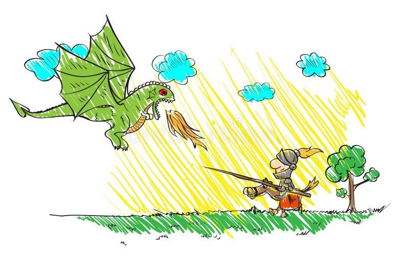 Disegno del ` s del bambino con un drago e un cavaliere illustrazione di stock