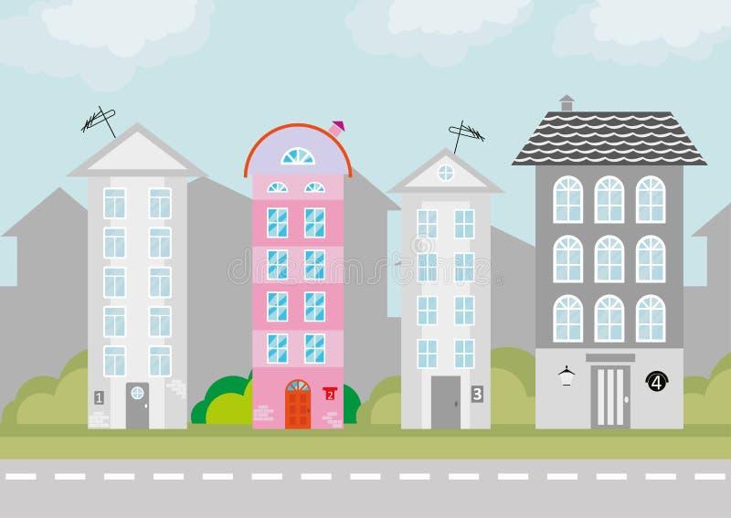 Disegno del ` s dei bambini della città illustrazione di stock