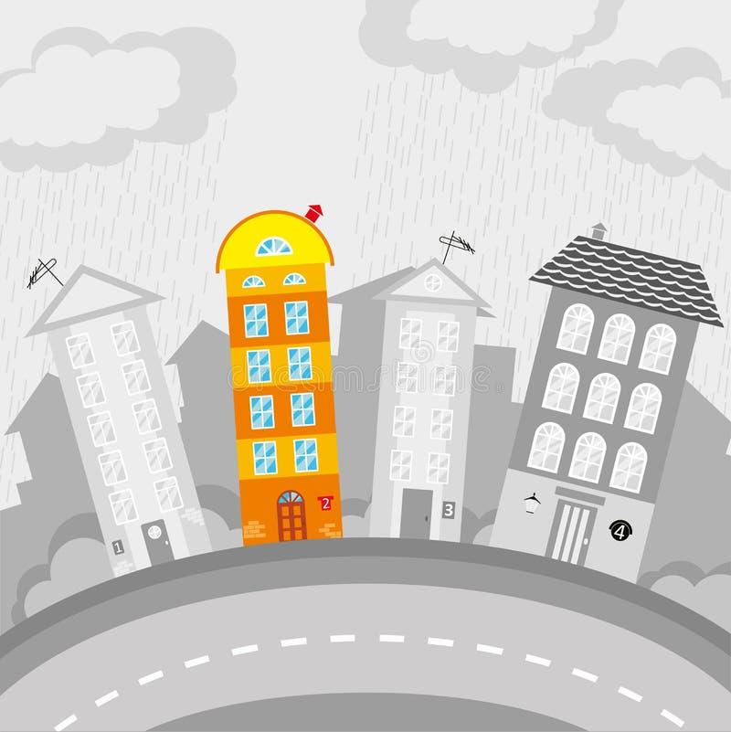 Disegno del ` s dei bambini della città illustrazione vettoriale