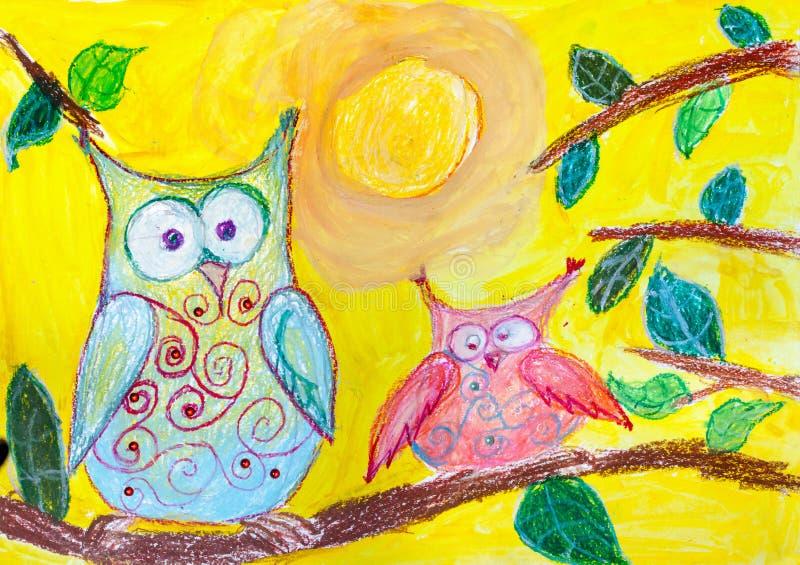 Disegno del ` s dei bambini Due gufi che si siedono sul ramo illustrazione vettoriale