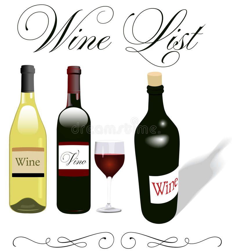 Disegno del vetro da bottiglia del menu della lista di vino royalty illustrazione gratis