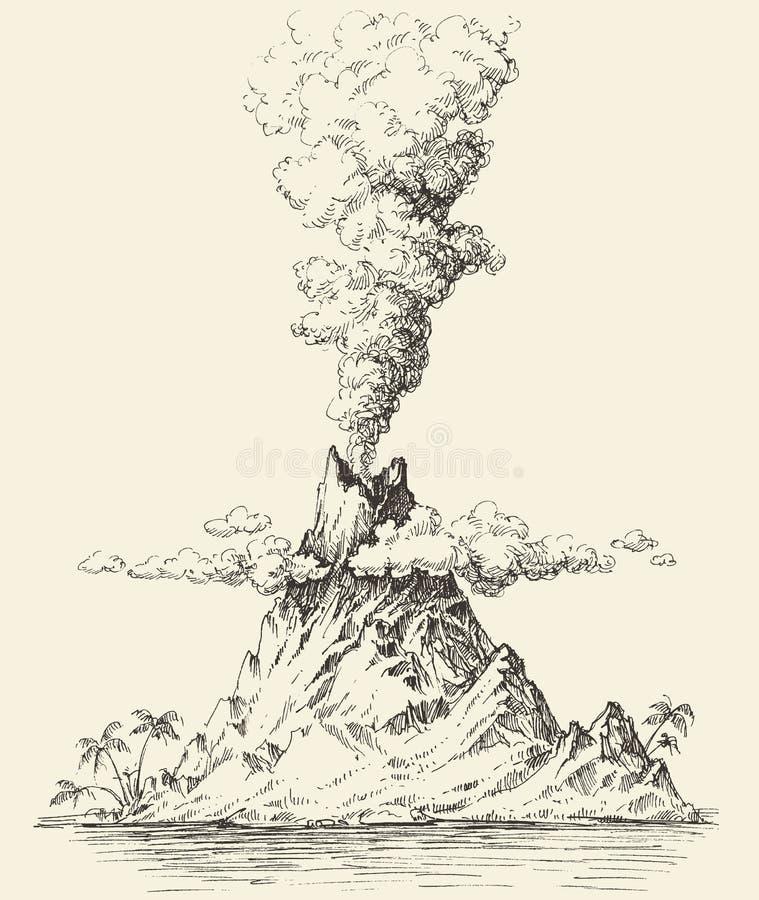 Disegno del vulcano attivo illustrazione di stock