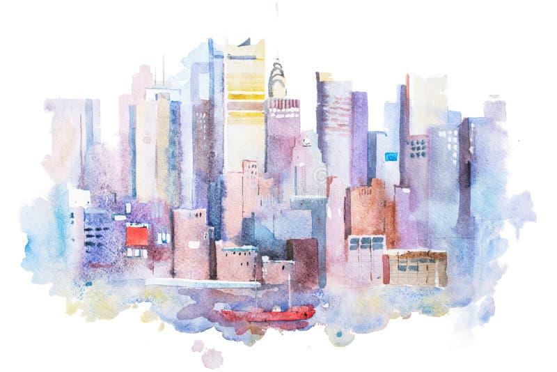 Disegno dell'acquerello del paesaggio urbano di New York, U.S.A. Pittura dell'acquerello di Manhattan royalty illustrazione gratis