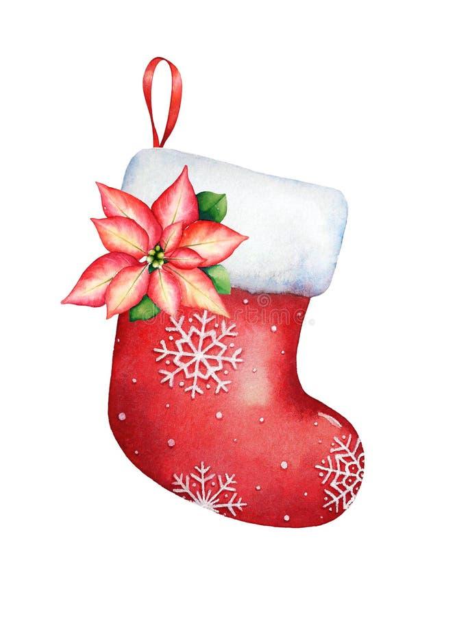 Disegno dell'acquerello della calza rossa vuota di natale con il poin royalty illustrazione gratis