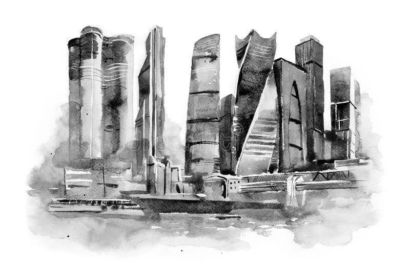 Disegno dell'acquerello della città di Mosca Pittura internazionale dell'acquerello del centro di affari fotografie stock libere da diritti