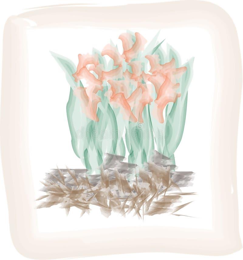 Disegno dell'acquerello della crescita di fiori arancio fotografia stock libera da diritti