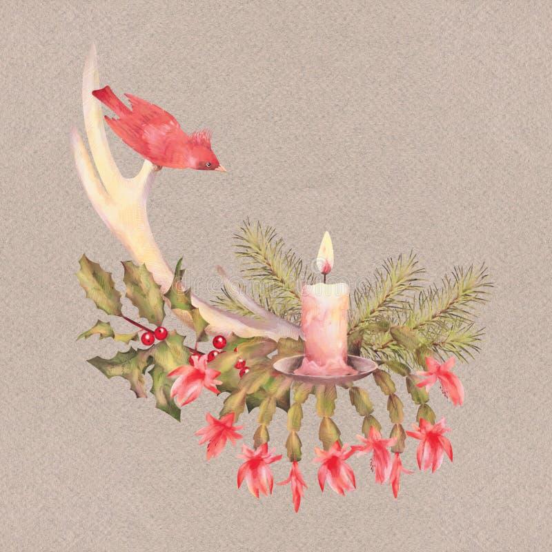 Disegno dell'acquerello di Buon Natale royalty illustrazione gratis