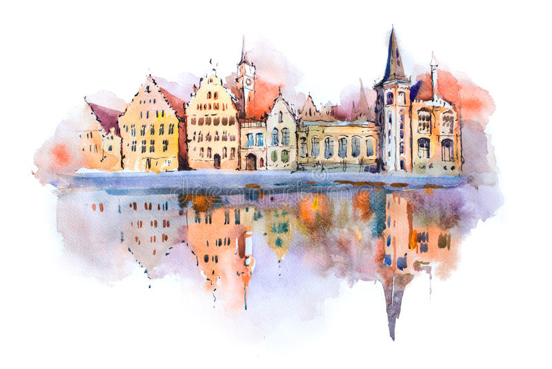 Disegno dell'acquerello di paesaggio urbano di Bruges, Belgio Pittura dell'acquerello del canale di Bruges fotografia stock