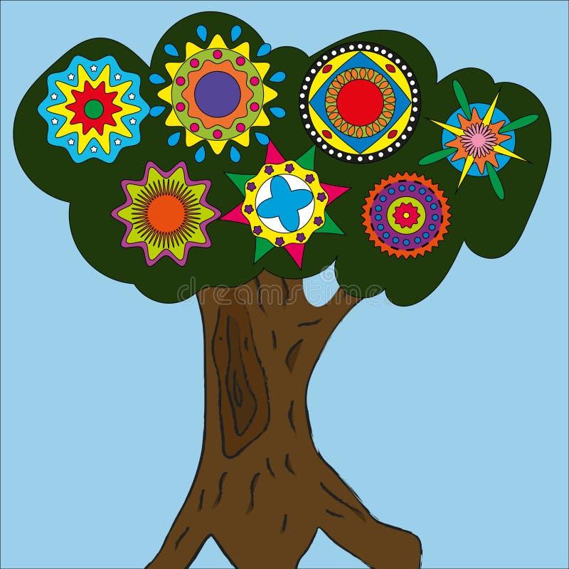 Disegno dell'albero su un fondo blu fotografia stock libera da diritti