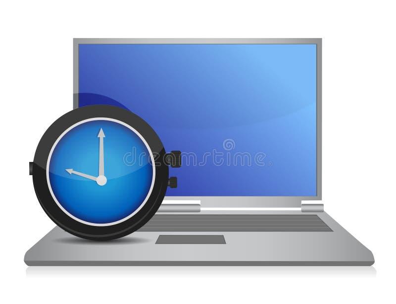 Disegno dell'illustrazione della vigilanza del computer portatile royalty illustrazione gratis