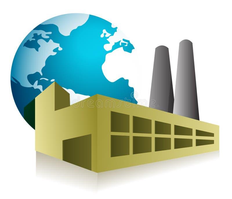 Disegno dell'illustrazione di concetto della fabbrica del mondo sopra il whi illustrazione di stock