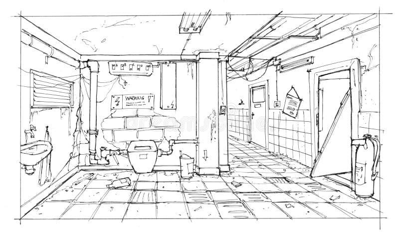 Disegno dell'inchiostro del corridoio interno abbandonato e desolato illustrazione di stock