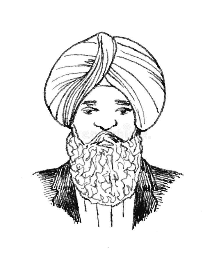 Disegno dell'inchiostro di china di un turbante d'uso dell'uomo sikh indiano Ritratto fotografia stock libera da diritti