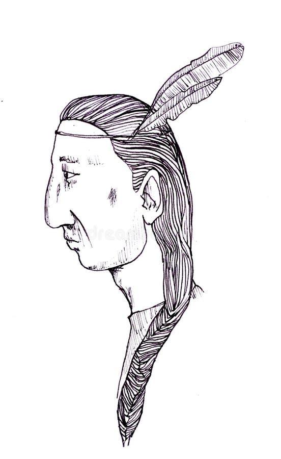Disegno dell'inchiostro di china di un uomo indiano rosso fotografia stock libera da diritti