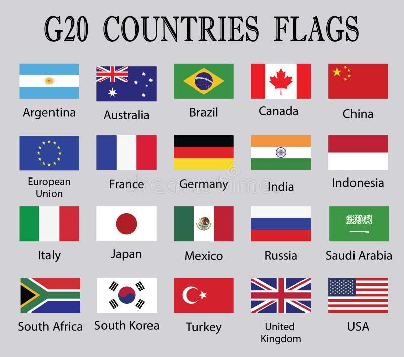 Disegno dell'insieme della bandiera di paesi di G 20 tramite l'illustrazione illustrazione vettoriale