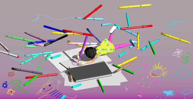 disegno della bambina con le penne variopinte illustrazione di stock