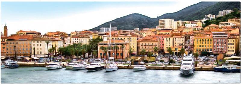 Disegno della costa della Corsica, Aiaccio Panorama fotografie stock