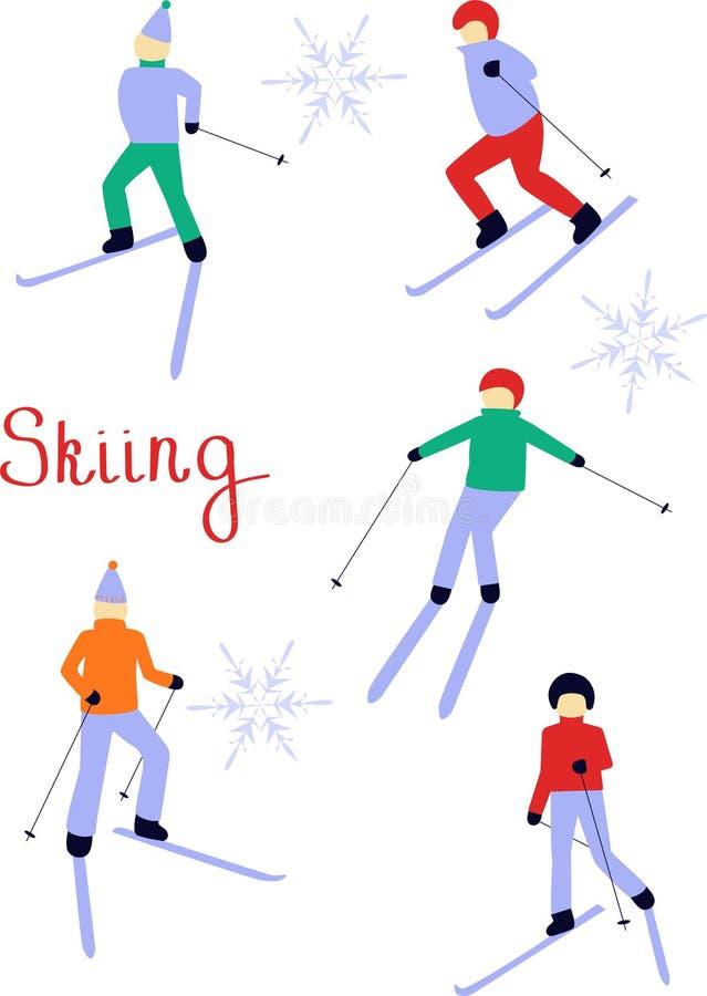 Disegno della gente di sci Illustrazione di Natale Azzurro, scheda, pensionante, imbarco, esercitazione, estremo, divertimento, c illustrazione di stock