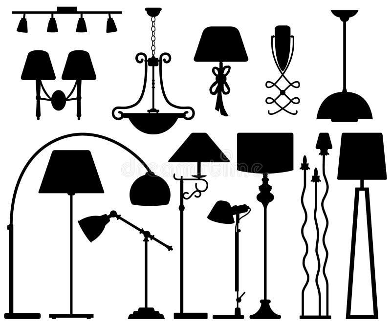 Disegno della lampada per la parete del soffitto del pavimento illustrazione di stock