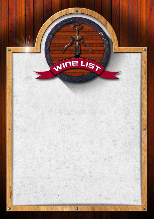 Disegno della lista di vino royalty illustrazione gratis