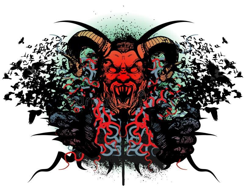 Disegno della maglietta con la testa del mostro illustrazione di stock