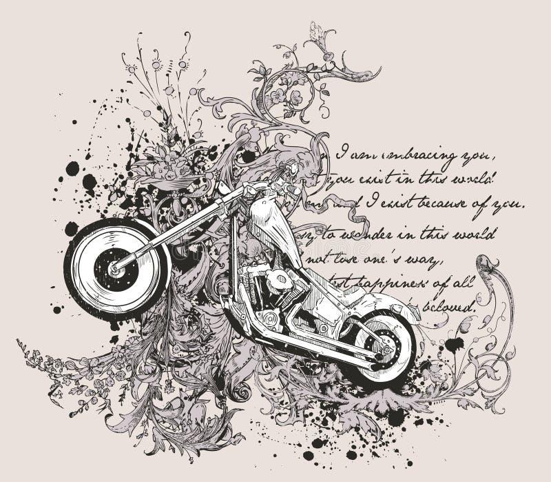 Disegno della maglietta del motociclo illustrazione vettoriale