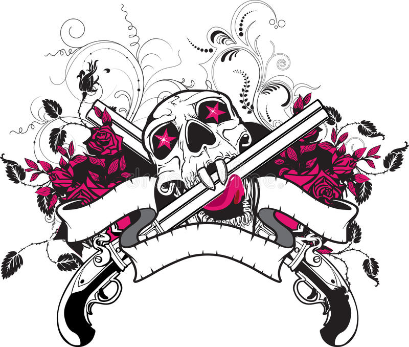 Disegno della maglietta delle rose delle pistole del cranio royalty illustrazione gratis