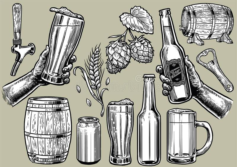 Disegno della mano degli oggetti della birra nell'insieme illustrazione di stock