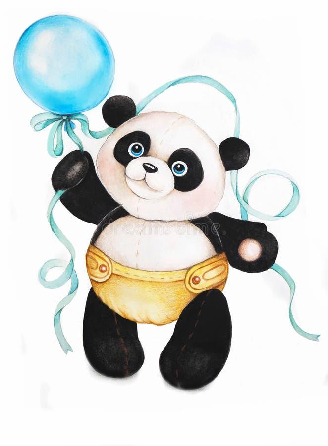 Disegno della mano del carattere del panda fotografia stock libera da diritti