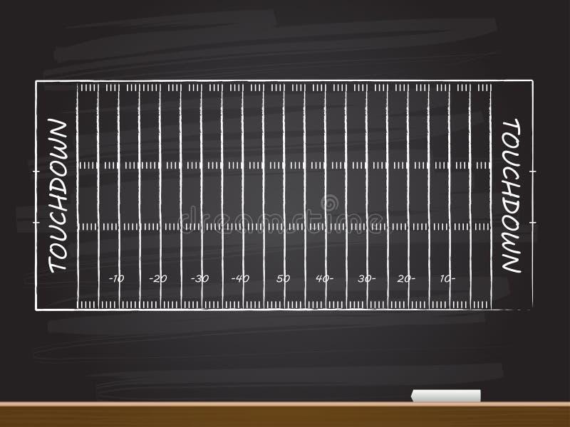 Disegno della mano del gesso con il campo di football americano Illustrazione di vettore illustrazione vettoriale