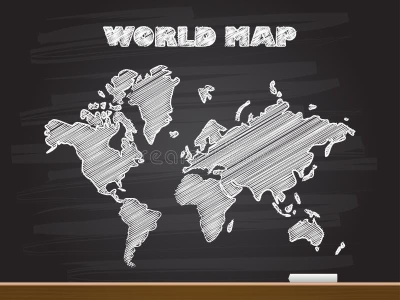 Disegno della mano del gesso con la mappa di mondo Illustrazione di vettore fotografia stock