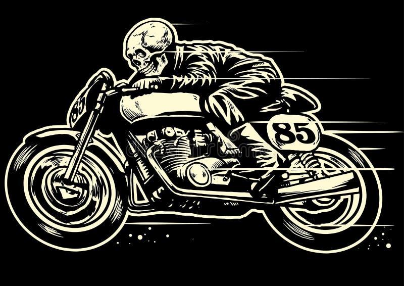 Disegno della mano del motociclo dell'annata di guida del cranio illustrazione di stock