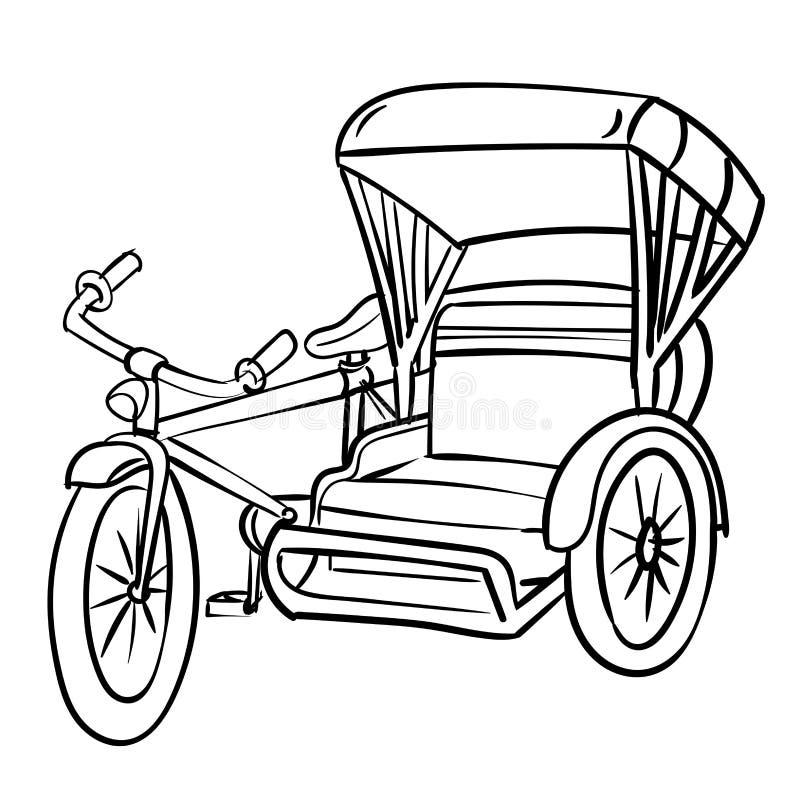 Disegno della mano dell'illustrazione di Triciclo-vettore illustrazione vettoriale