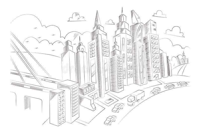 Disegno della mano della vita di città illustrazione vettoriale