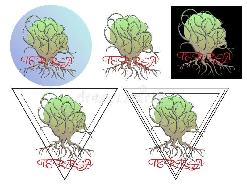 Disegno della mano per la siluetta della maglietta o del tatuaggio di una testa intrecciata albero royalty illustrazione gratis