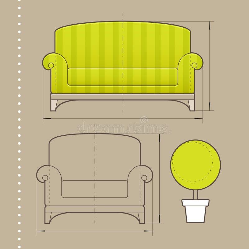 Disegno della mobilia illustrazione di stock