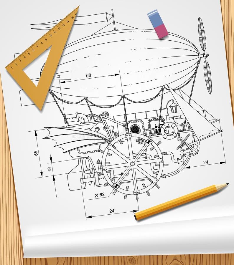 Disegno della nave fantastica complessa di volo dello steampunk su carta e royalty illustrazione gratis