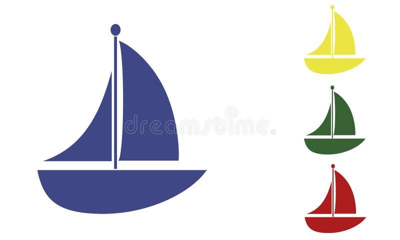 Disegno della navigazione della barca in colori vari illustrazione di stock