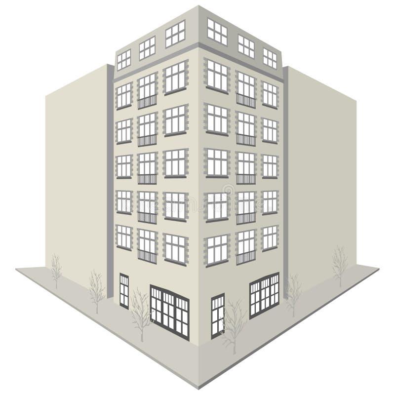 Disegno della palazzina di appartamenti illustrazione di stock