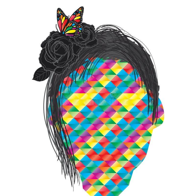 Disegno della ragazza di Rosa illustrazione di stock