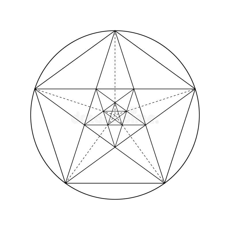 Disegno della stella del pentagramma illustrazione di stock