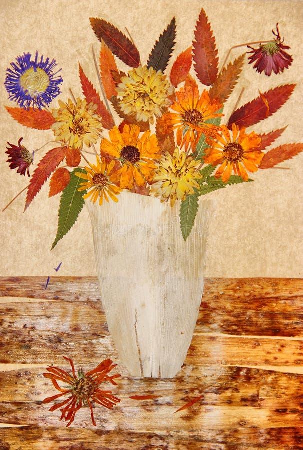 Disegno delle foglie secche di caduta delle piante e dei rami fotografie stock