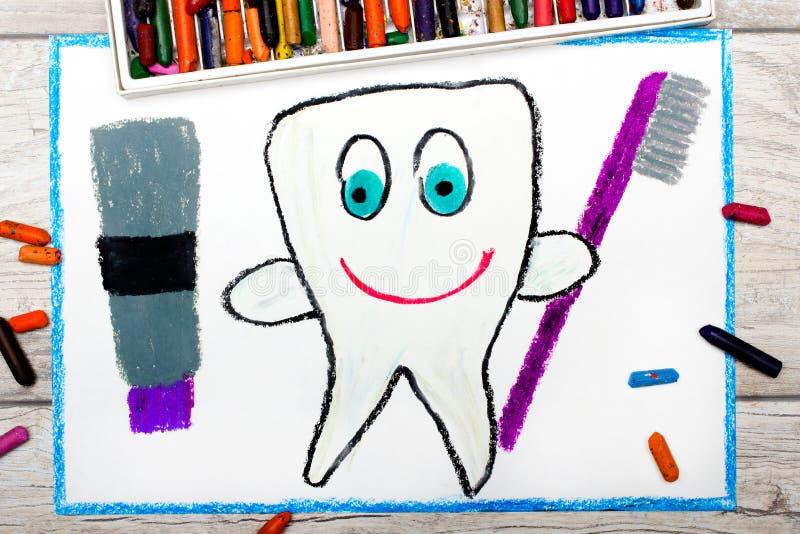 Disegno: dente sano sorridente che tiene un dentifricio in pasta e uno spazzolino da denti fotografia stock