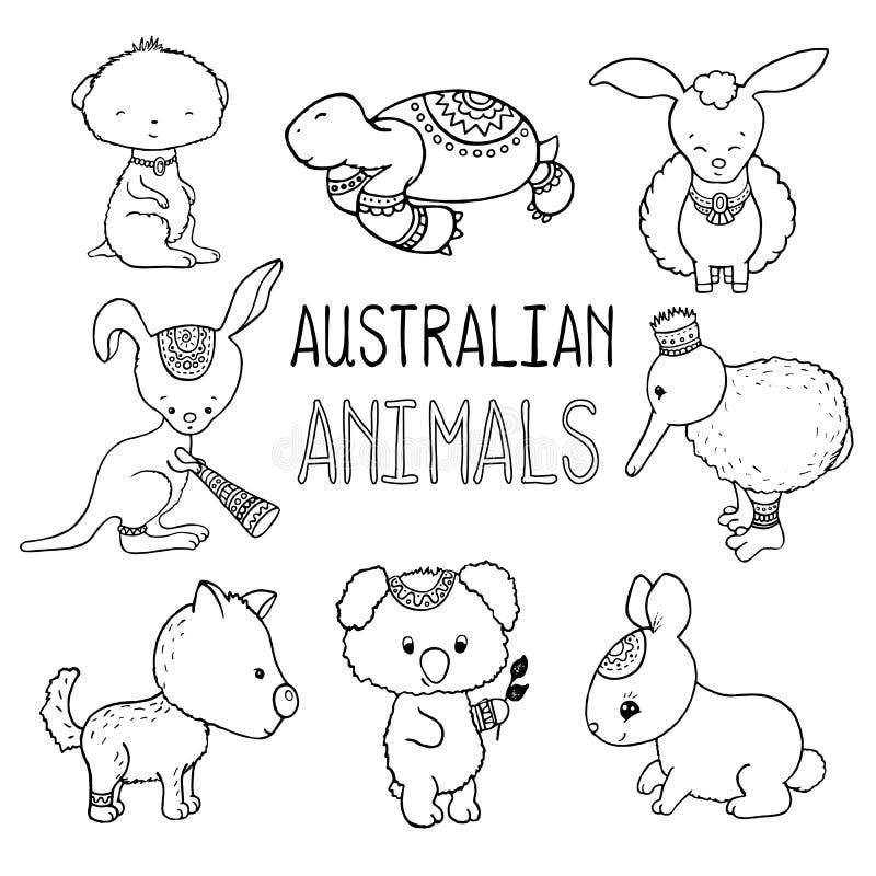 Disegno descritto animali australiani svegli Animali dell'illustrazione disegnata a mano dell'Australia illustrazione vettoriale